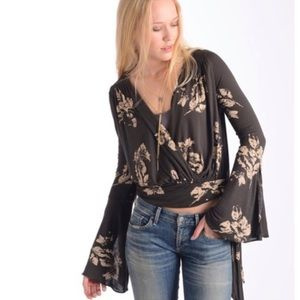 Free People Fiona Floral Wrap Long Sleeve Top
